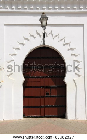 Morocco Marrakesh Beautiful Arabesque door - on of the doors to the Koutubia Mosque complex - stock photo