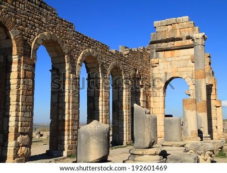 Morocco, Moulay Idriss, Volubilis - Roman archaeological site, UNESCO World Heritage site. - stock photo
