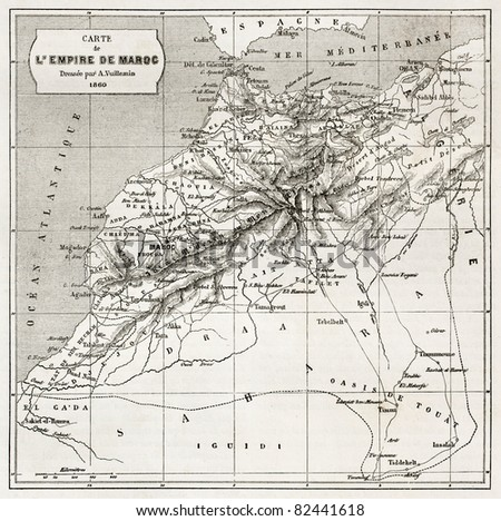 Morocco old map.  Created by Erhard and Bonaparte, published on Le Tour du Monde, Paris, 1860 - stock photo
