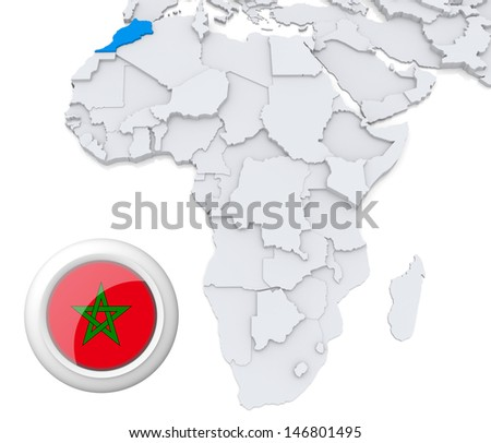 Morocco on Africa map - stock photo