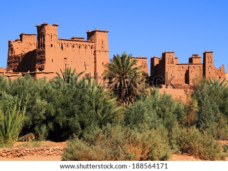 Morocco Ouarzazate - Ait Ben Haddou Medieval Kasbah built in adobe - UNESCO World Heritage Site. Location for many films - Gladiator, Babel, Alexander, Sheltering Sky, Sodom and Gamorah and the Mummy. - stock photo