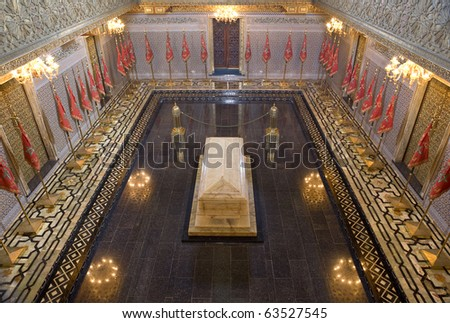 Morocco. Rabat. Interior of the King's Mausoleum, where have been buried Mohammed V, Hassan II and Moulay Abdallah - stock photo