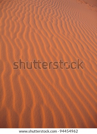 Morocco, Sahara desert's glowing orange dunes, near the town of Merzouga and the Algerian border. This very fine sand has an amazing natural color with wind shaped features and texture.