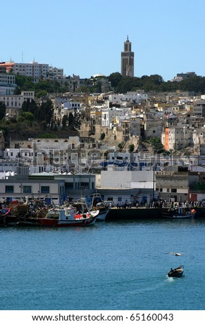 Morocco Tangier medina viewed from the harbor