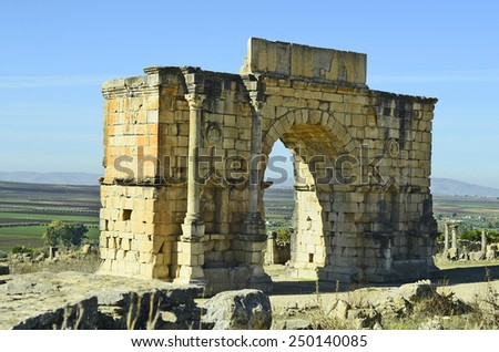 Morocco, Unesco world heritage site of ancient Roman settlement Volubilis aka Walili