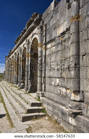 Morocco. Volubilis - archaeological site is on UNESCO World Heritage List. The Basilica.
