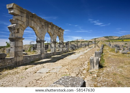 Morocco. Volubilis - archaeological site is on UNESCO World Heritage List. The Decumanus Maximus.