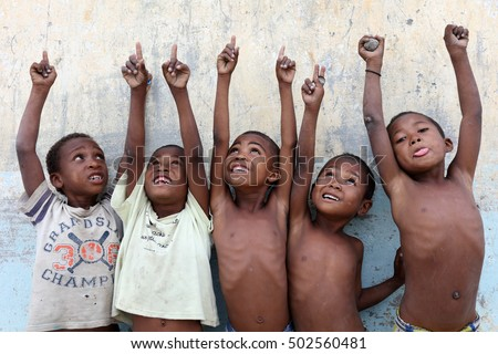 MORONDAVA - MADAGASCAR - JUNE 1, 2016: Unidentified students in primary school on June 1, 2016 in Morondava, Madagascar. Due to political crisis Madagascar is among the poorest countries in the world
