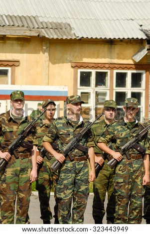 MOROZKI, RUSSIA - July 15, 2006 - Young Russian soldiers on a military Oath day in army