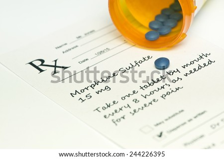 Morphine sulfate pills with bottle and prescription. - stock photo