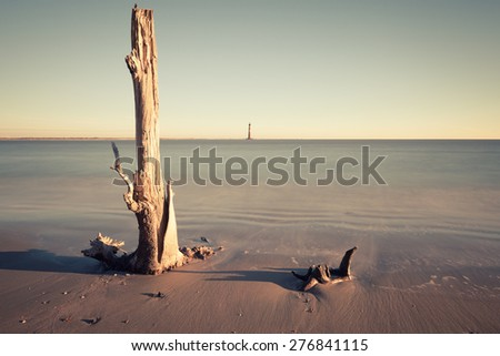 Morris Island Lighthouse at sunrise, South Carolina, USA - stock photo