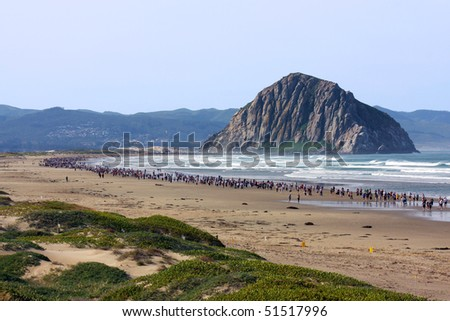 MORRO BAY, CA - APRIL 17:  Over two thousand people participated in the 7th annual Miracle Miles for Kids Marathon, by running or walking from Morro Bay, CA to Cayucos, CA on APRIL 17, 2010 . - stock photo