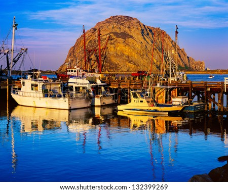 Morro Bay Harbor and Morro Rock, California - stock photo