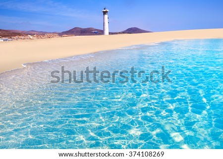 Morro Jable Matorral beach Jandia in Pajara of Fuerteventura at Canary Islands - stock photo