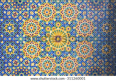 Morrocan (Islamic) mosaic tilework details - stock photo