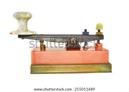 Morse key isolated on a white background - stock photo