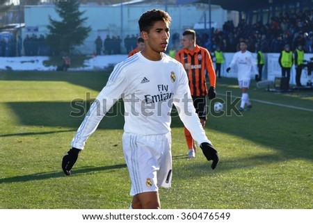 MORSHUN, UKRAINE - OCT 25: Achraf Hakimi in action during the UEFA Youth Champions League match between Shakhtar vs Real Madrid (U19), 25 October 2015, Ukraine