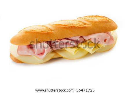mortadella and cheese sandwich - stock photo