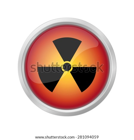 mortal danger Nuclear sign on red button - stock photo