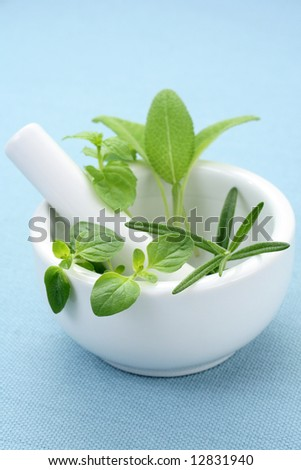 mortar and pestle full of various herbs