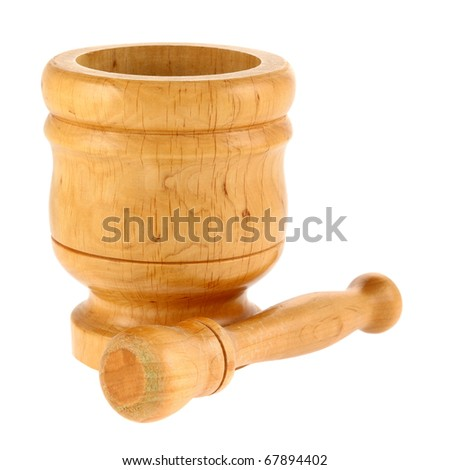Mortar and pestle isolated on white background. Intentional shallow depth of field. Focus on foreground. Studio work. - stock photo