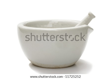 mortar and pestle on white background