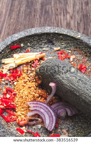 Mortar and pestle with Asian ingredients