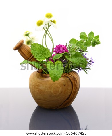 Mortar and pestle with fresh herbs  - stock photo