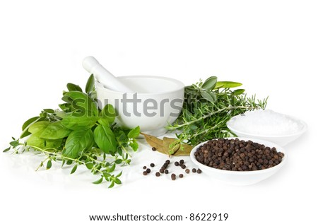 Mortar and pestle, with fresh-picked herbs, peppercorns and sea salt.  Herbs include basil, thyme, rosemary, oregano, mint, sage and bay leaves. - stock photo