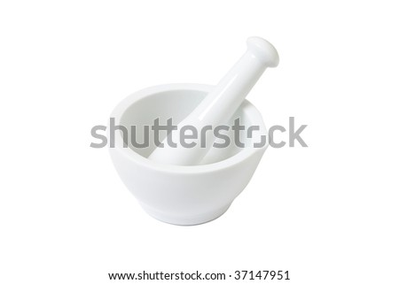 Mortar isolated on a white bg - stock photo