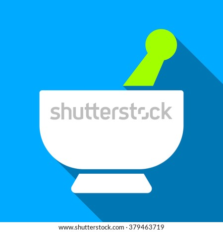 Mortar long shadow raster icon. Style is a flat light symbol with rounded angles on a blue square background. - stock photo