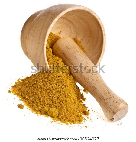 mortar with curry powder spice isolated on white - stock photo