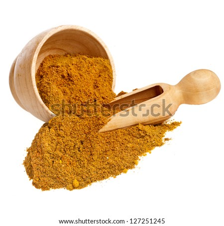 mortar with curry powder spice isolated on white background - stock photo