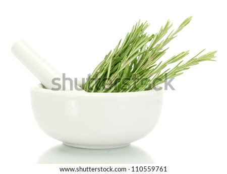 mortar with fresh green  rosemary isolated on white - stock photo