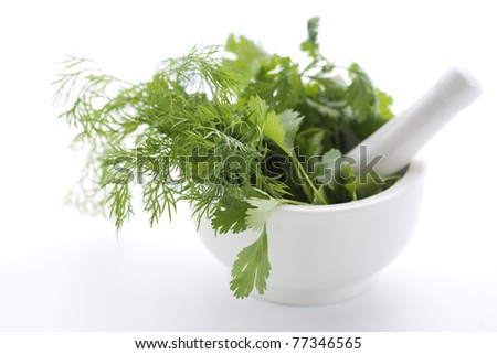 Mortar with fresh herbs and pastle isolated - stock photo