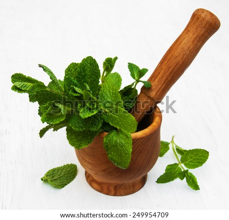 Mortar with green mint on a old white wooden background - stock photo