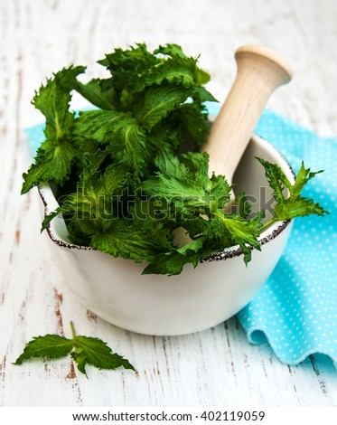 Mortar with green mint on a old white wooden background