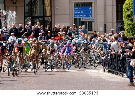 MORTARA, ITALY - MAY 13: Giro d'Italia (Tour of Italy) 5th stage Novara - Novi Ligure - Group of Cyclists from Various Teams During Stage 5 of the Giro d'Italia, may 13 2010 in Mortara, Italy
