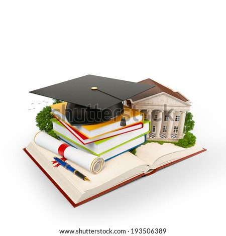 Mortarboard, books and university building on a opened book. Education. Isolated - stock photo