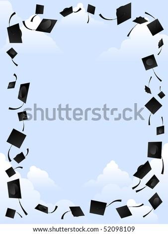 Mortarboard frame - raster - stock photo