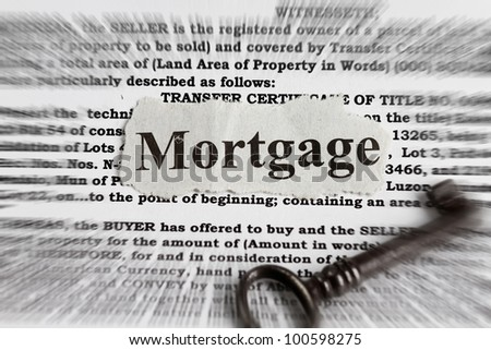 Mortgage abstract - mortgage cutout with radial blur effect. - stock photo