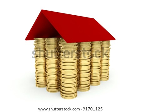 Mortgage concept 3d, investing in real estate - stock photo