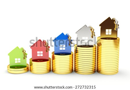 Mortgage concept. Different houses on stacks of coins isolated on white background - stock photo