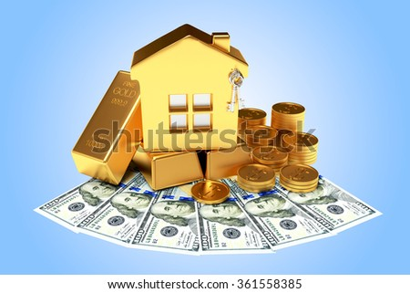 Mortgage concept. Golden house among the coins, dollar bills and bars on blue background