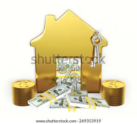 Mortgage concept.Golden house on stack of coins and dollar bills isolated on white background