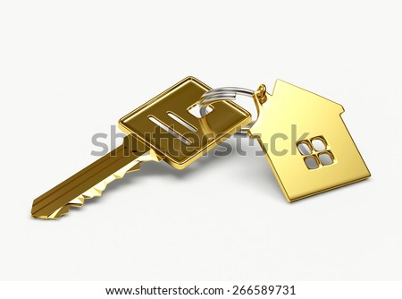 Mortgage concept. Golden key with house figure isolated on white background - stock photo