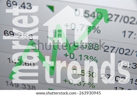 Mortgage concept. House sign & upward arrow. - stock photo