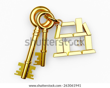 Mortgage concept. Keys with golden house figure isolated on white background - stock photo