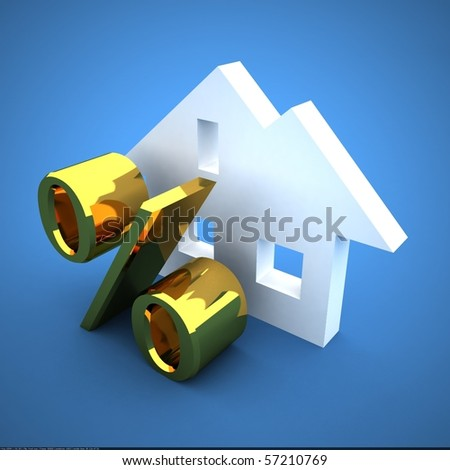mortgage concept on blue - stock photo
