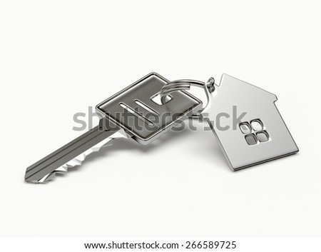 Mortgage concept. Silver key with house figure isolated on white background - stock photo